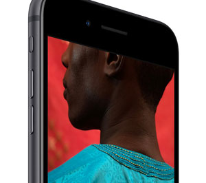 Front upper half of iPhone 8, angled to the right, with screen showing picture with vivid, fade-free colors