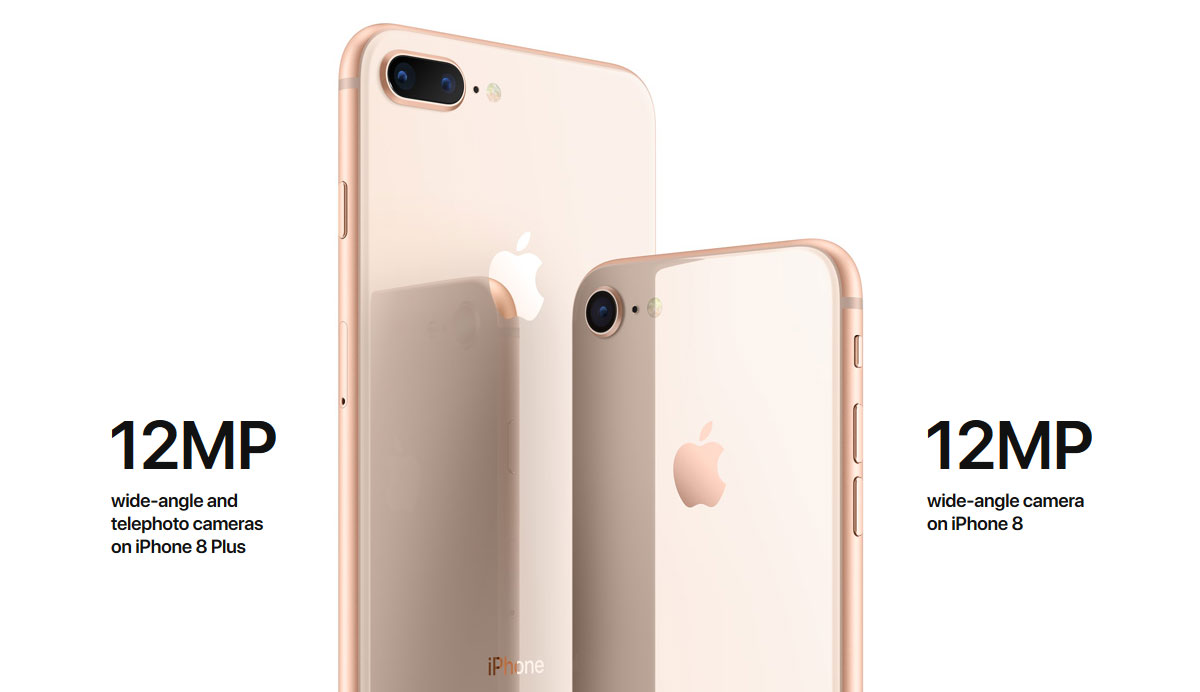 Rear of iPhone 8 and iPhone 8 Plus, with texts describing dual cameras of Plus mode and single of non-plus model
