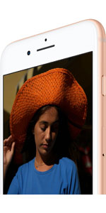 Front upper part of iPhone 8, angled to the left, with screen showing a female wearing a hat