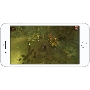 Front view of iPhone 8 in horizontal orientation, with screen running a game
