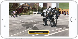 Front view of iPhone 8 in horizontal orientation, with screen showing a robot and a flying dragon on a playground where some people are playing basket ball