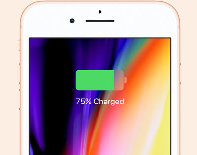 Front upper half of iPhone, with screen showing 75% battery charged
