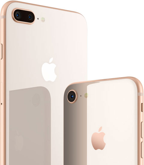 Rear view of iPhone 8 and iPhone 8 Plus