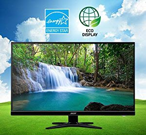 two eco-fridendly icons and Acer G276HL Kbmidx monitor placed on the green grass