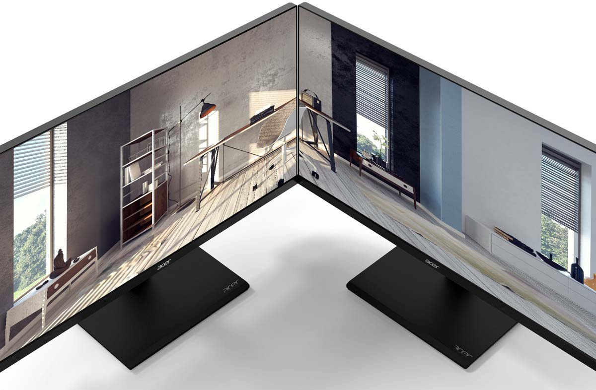 Two Acer V227U Angled Towards Each Other, Side by Side, Sharing an Image of an indoor home office with modern decor