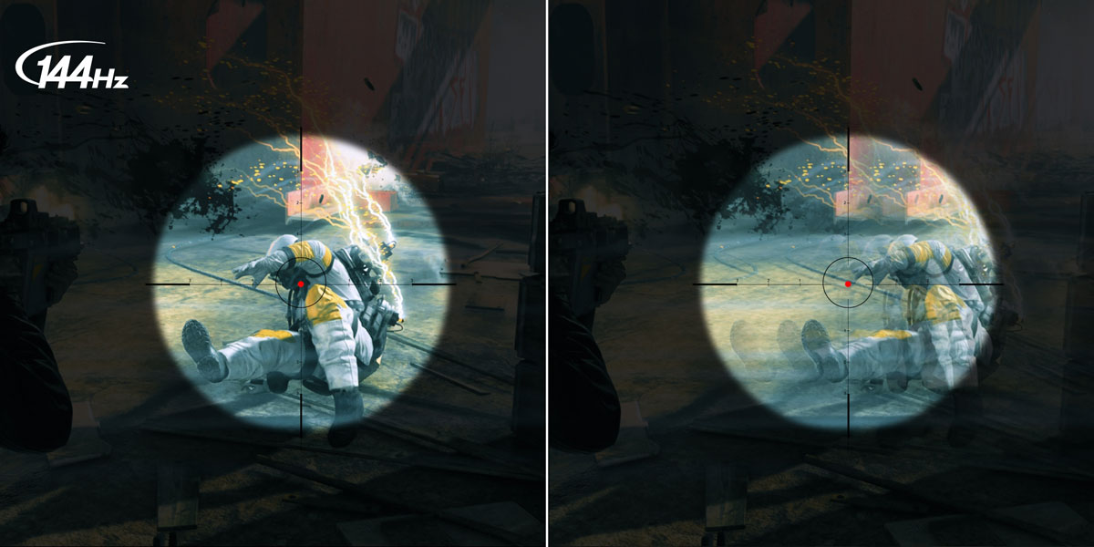 144Hz versus a standard panel that's blurry in comparison. The image shows a sniper's sites on an enemy soldier with electrified equipment