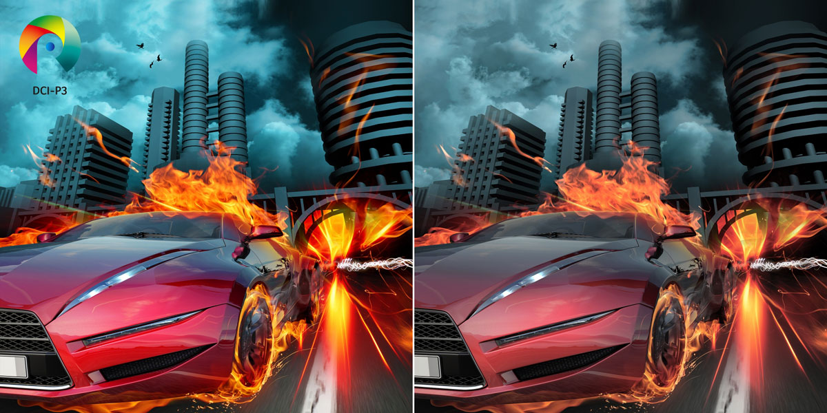 Two images of a racer car with flames roaring through a city freeway with skyscrapers in the background side by side, the left image has more vibrant colors thanks to DCI-p3
