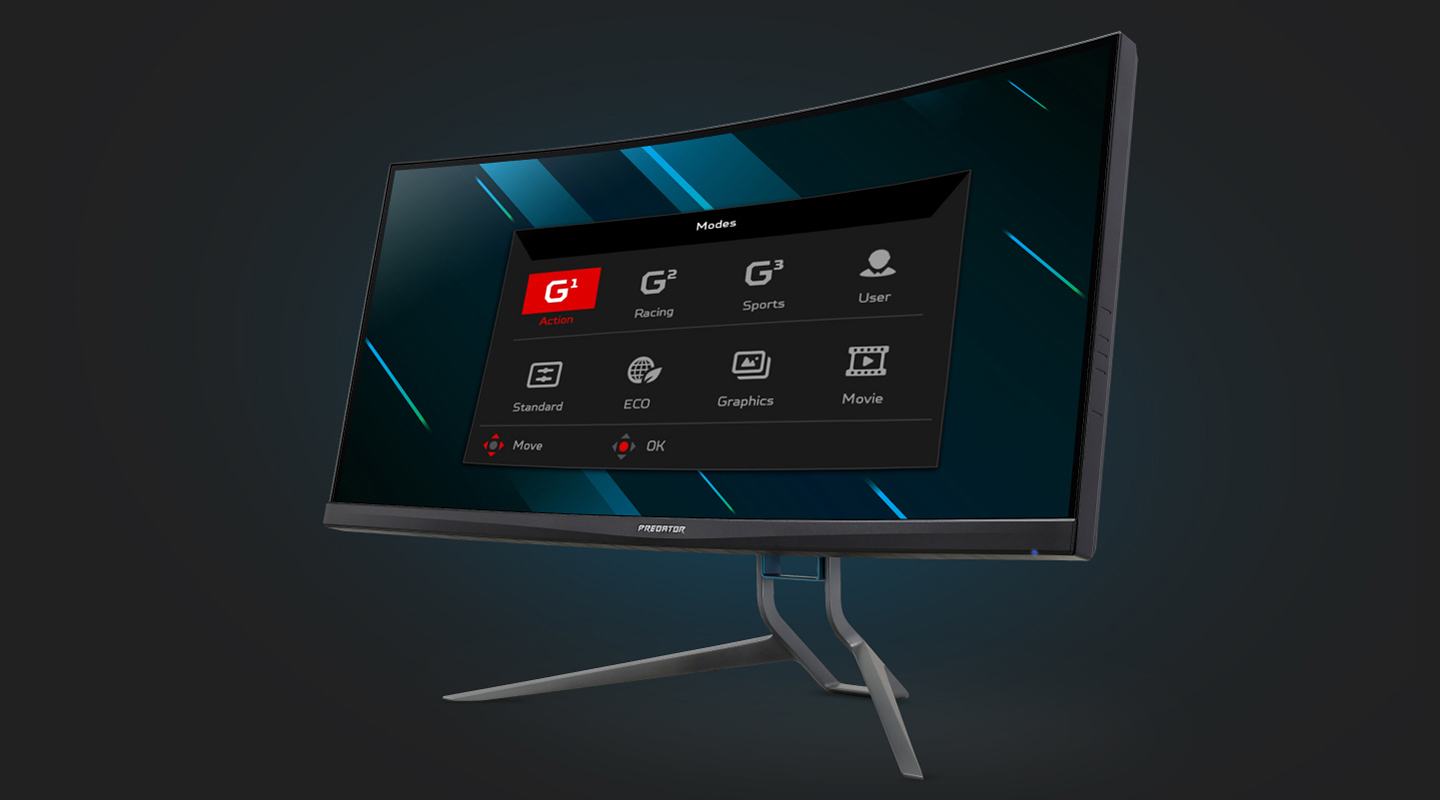 Acer Predator X35 Monitor Angled to the Right with Its Setting Screen Open