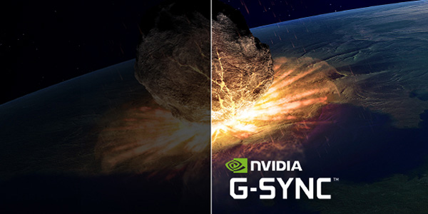 A nuclear explosion on a planet's surface, the left side is dim while the right side of the image is bright with the NVIDIA G-SYNC Badge