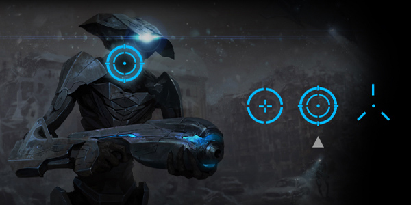 Screenshot of an Alien Mech Warrior with different aim point options in front