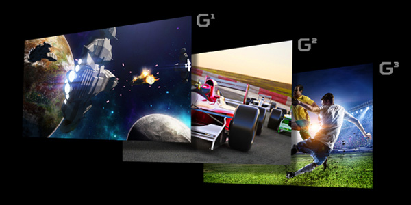 Three different screenfills, one of a spaceship battle between two planets, the other of F1 racing cars speeding through a road and another of a live soccer game up close to two opposing players with the ball