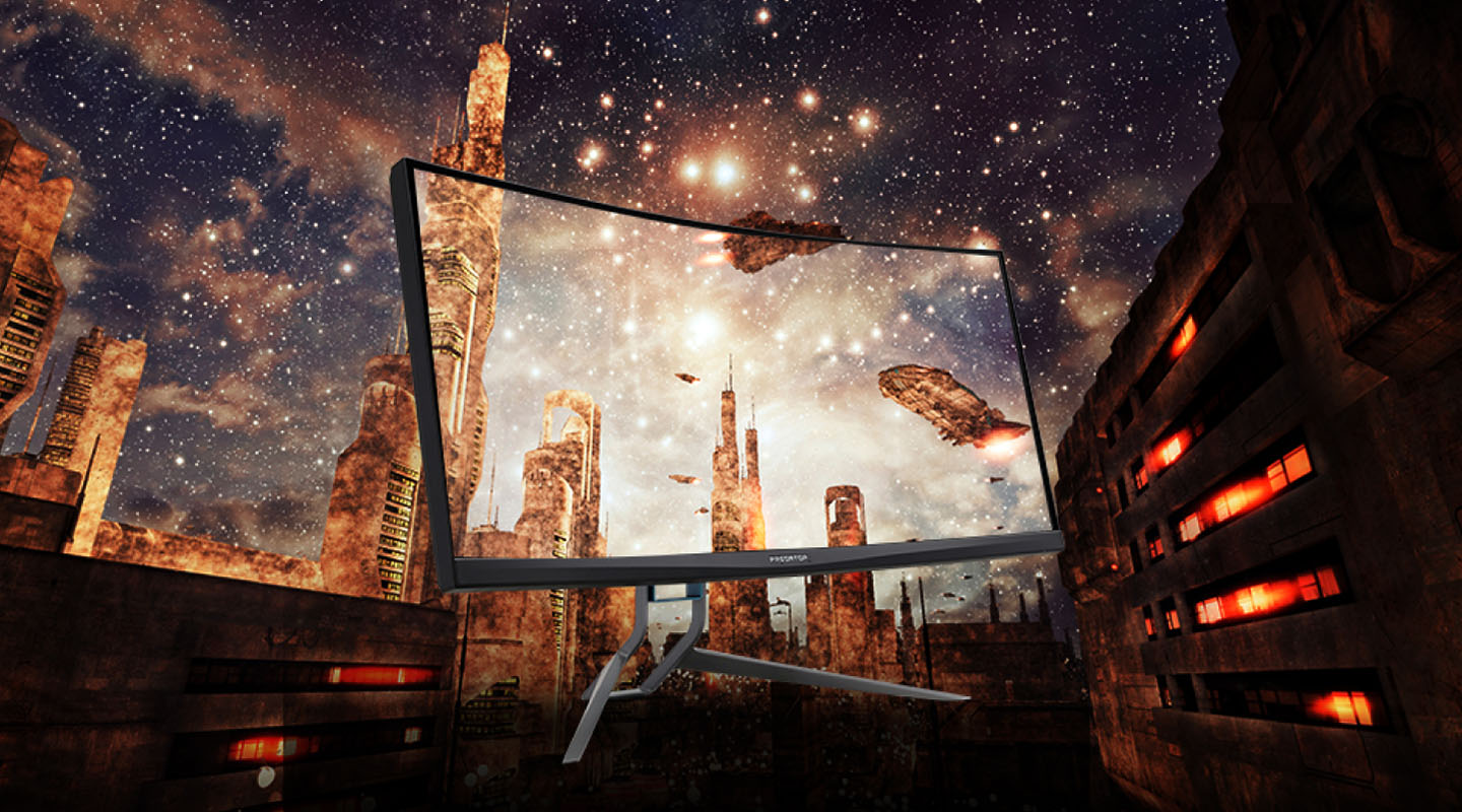 Acer Predator X35 Monitor Blending in with a Sci-Fi Designed City with Spacecraft in the Sky and Bright Stars and a Milky Galaxy Above