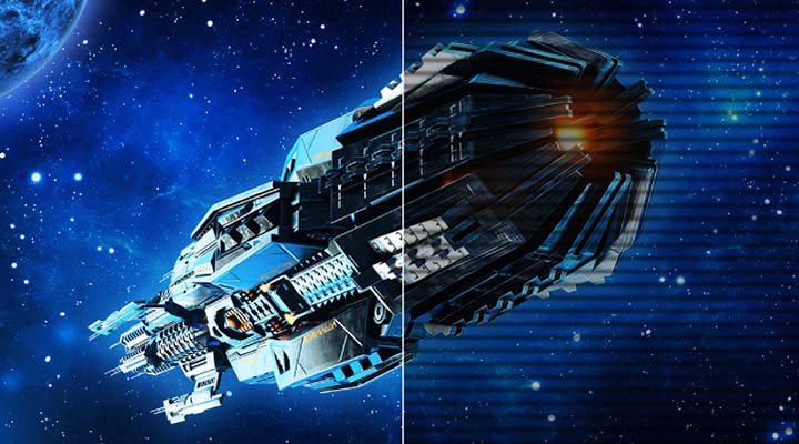 A spacecraft flying through space, the left side is clear while the right side of the image has flickered lines