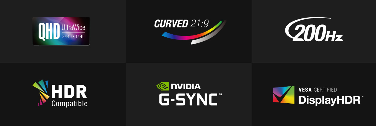 Badges for QHD UltraWide 3440x1440, Curved 21:9, 200Hz, HDR Compatible, NVIDIA G-SYNC and VESA CERTIFIED DisplayHDR