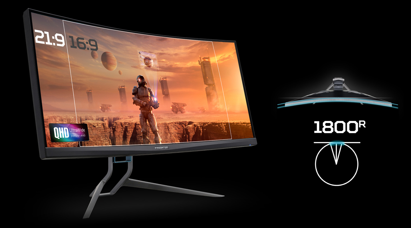 Acer Predator X35 Monitor Angled to the Right showing a suited astronaut on a desert planet with planets and buildings behind him. Text and graphics indicate the monitor has 21:9 aspect ratio and 1800R curvature