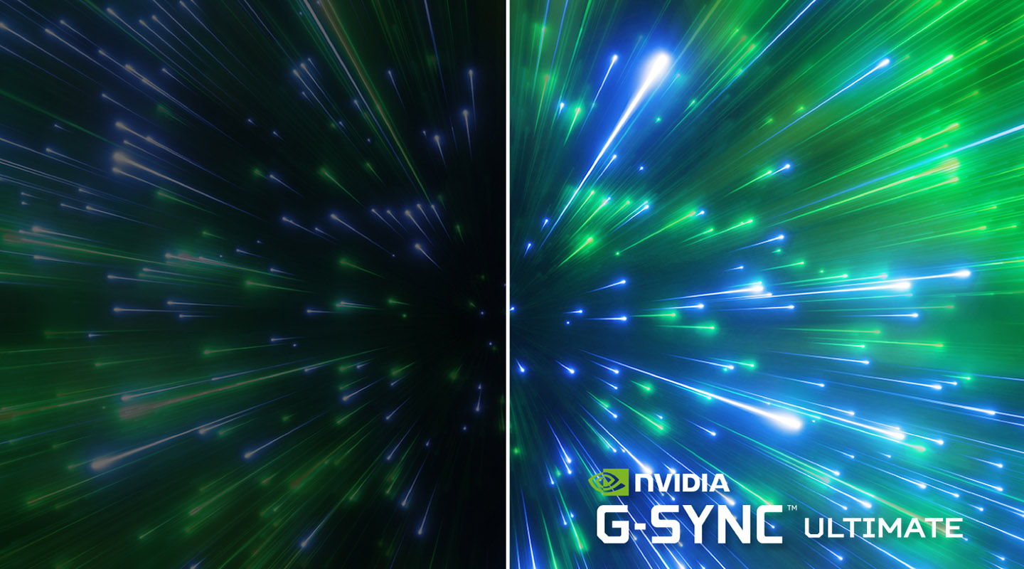 NVIDIA G-SYNC ULTIMATE banner showing hyperspace lights in green and blue