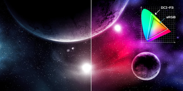 Color gamut banner of a pink, blue and black galactic image of planets