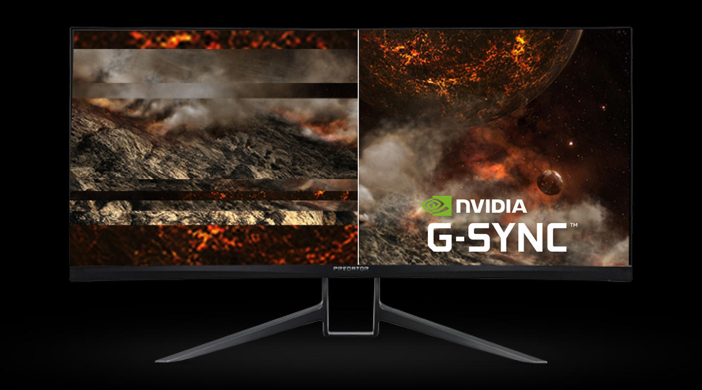Acer Predator X35 Monitor Facing Forward, showing molten rocks in space, the left side of the image is stuttered and torn while the right side is clear with the NVIDIA G-SYNC badge