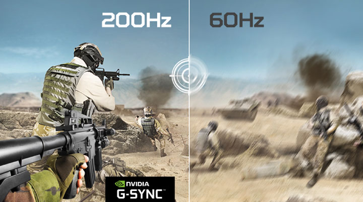 Image of counter terrorist operatives in a desert firefight. the left side of the image is crisp with 200Hz and the NVIDIA G-SYNC badge, while the right side is more blurry with 60Hz