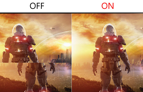a comparison gaming image between FreeSync On and FreeSync Off