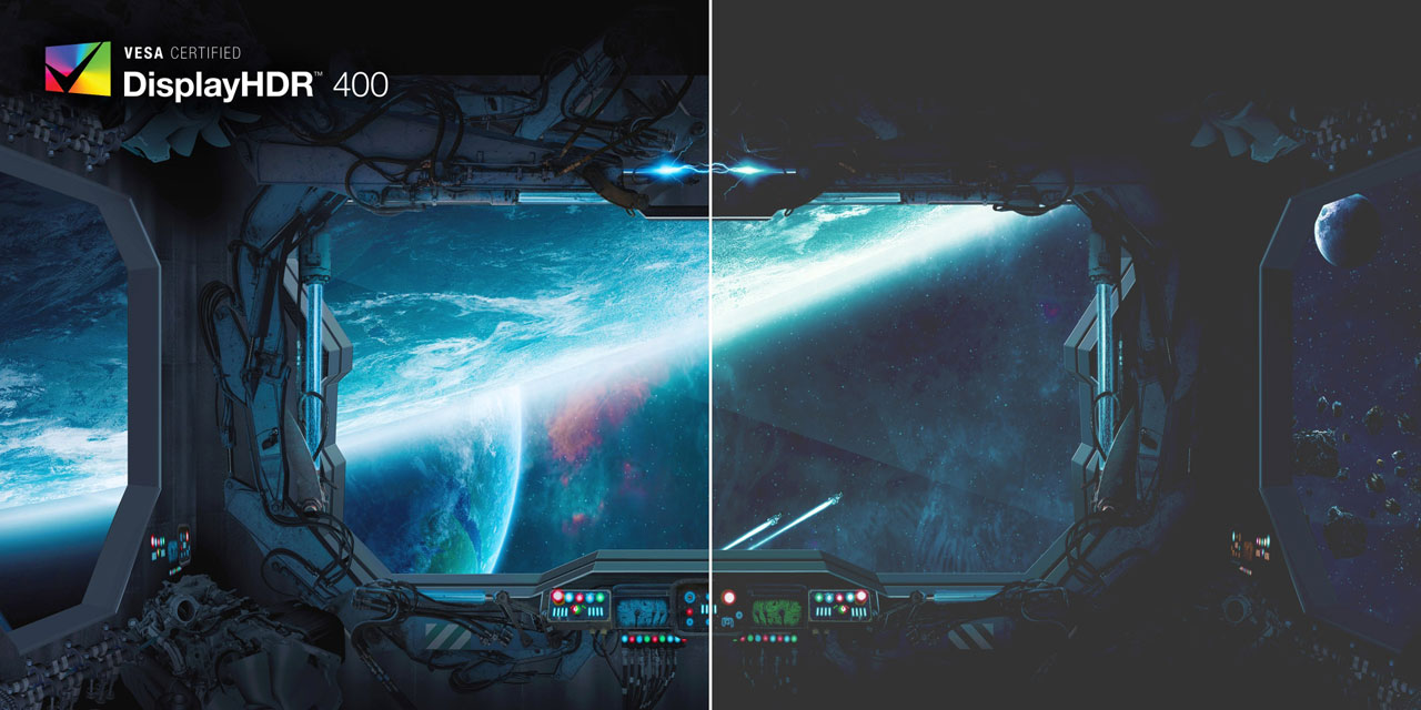 Comparison of game scenes between DisplayHDR 400 mode and standard mode