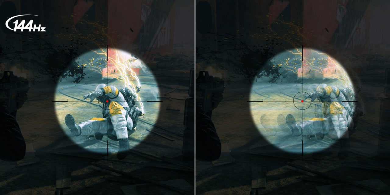 Comparison of game scenes between 144Hz and standard refresh rate