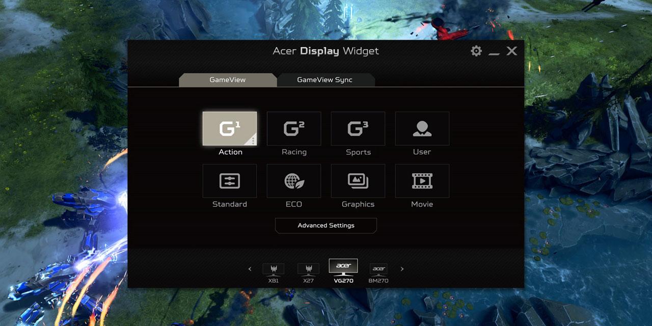 Screenshot of the Display Widget utility