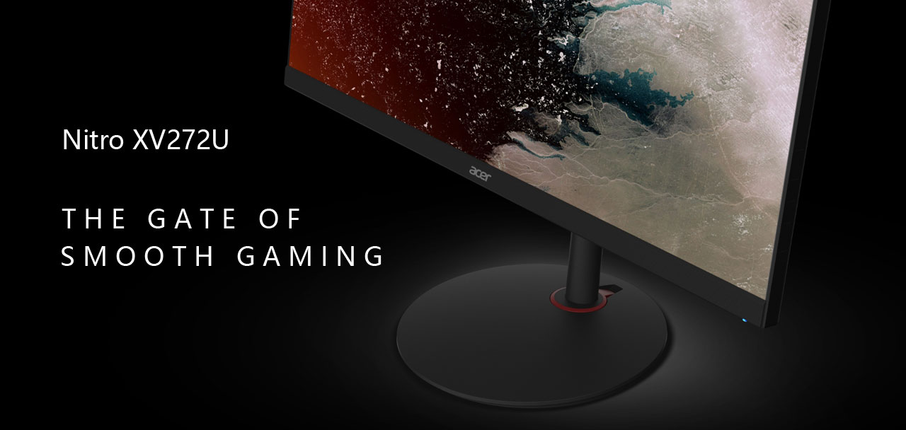 """Front angle view of this monitor, with texts next to it reading as """"Nitro XV272U"""" and """"The gate of smooth gaming"""""""