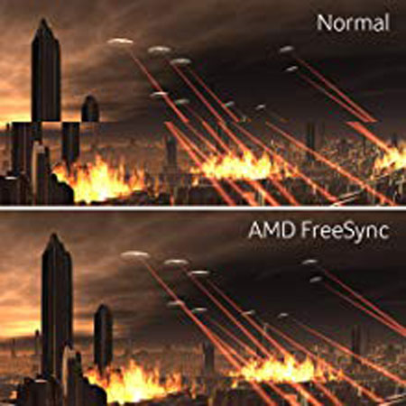 a visual comparison between AMD FreeSync and None