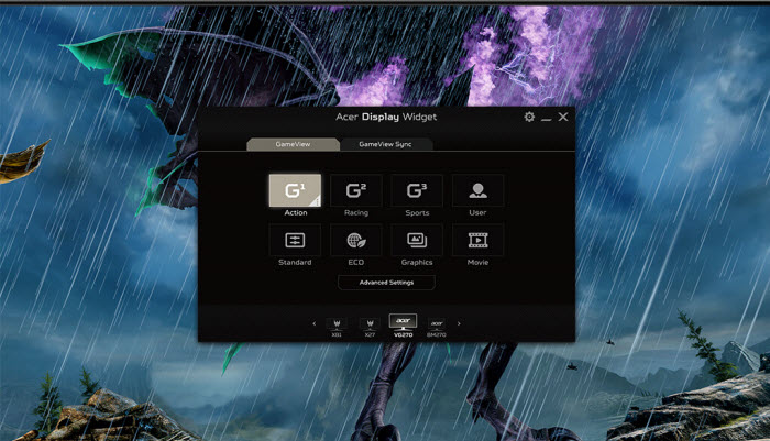 the interface of Display Widget software