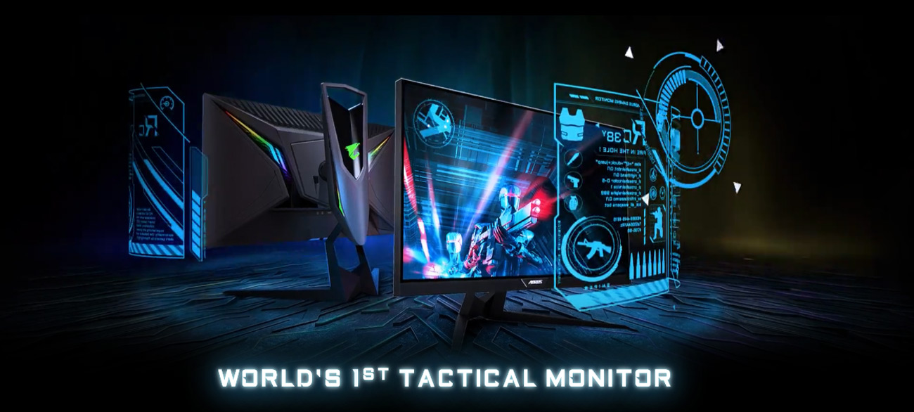 Two GIGABYTE AORUS KD25F Monitors, One Facing Away and the Other to the Right Next to a Graphical Overlay That Reads: 165Hz, 1ms, 1500R and ANC Audio. Below the Monitors Is Text That Reads: WORLD'S 1ST TACTICAL MONITOR