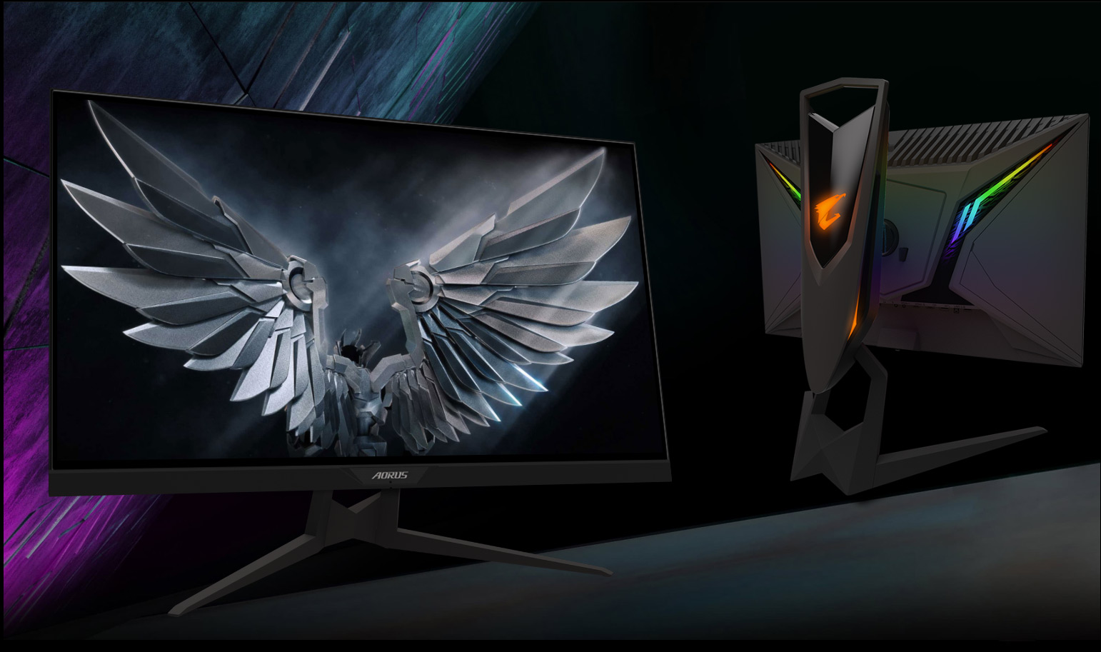 a robot bird as screenshot of monitor, and a back of the monitor