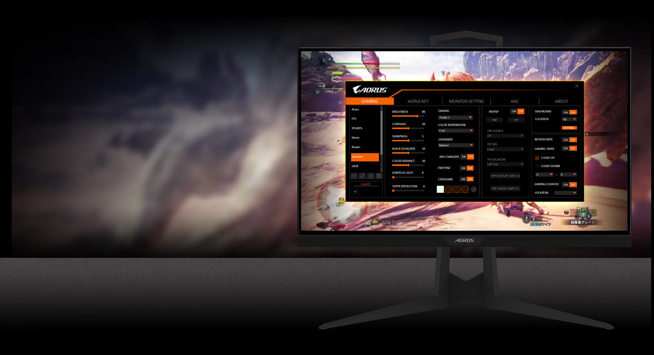 GIGABYTE AORUS KD25F 24.5 Monitor Angled to the front , showing the screenshot of osd sidekick