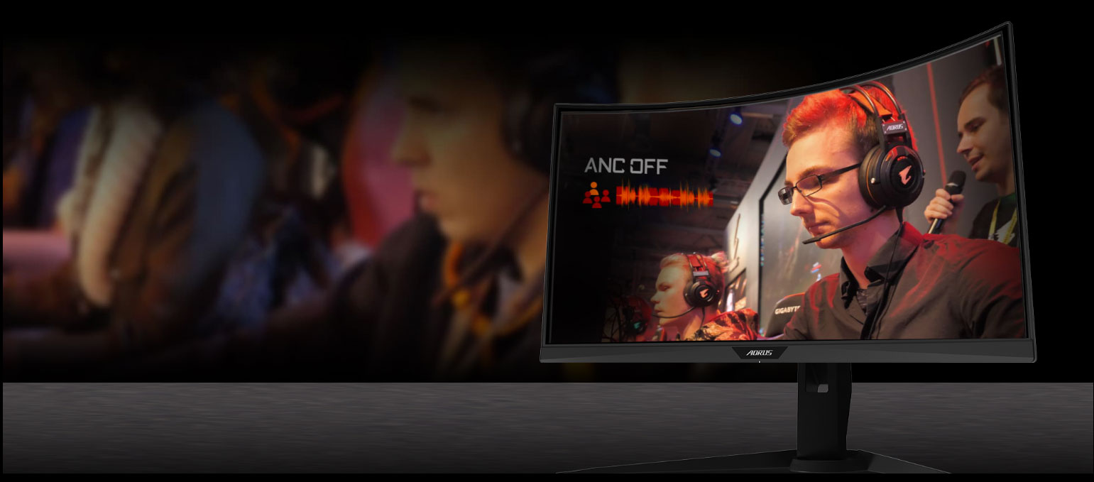 GIGABYTE AORUS CV27F 27 Monitor Angled to the left, showing the effect of anc with a man is gaming