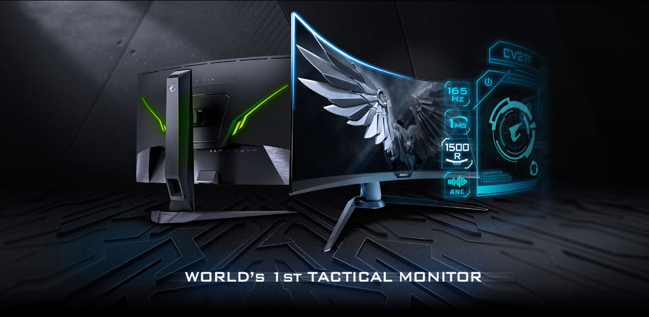 Two GIGABYTE AORUS CV27F Monitors, One Facing Away and the Other to the Right Next to a Graphical Overlay That Reads: 165Hz, 1ms, 1500R and ANC Audio. Below the Monitors Is Text That Reads: WORLD'S 1ST TACTICAL MONITOR
