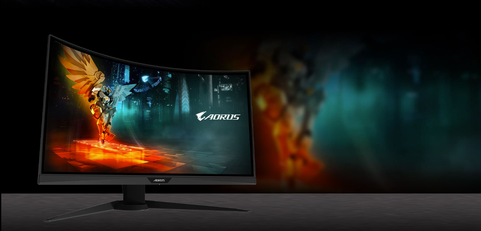 GIGABYTE AORUS CV27F 27 Monitor Angled to the Right with 90% DCI-P3 to show more powerful and sharper