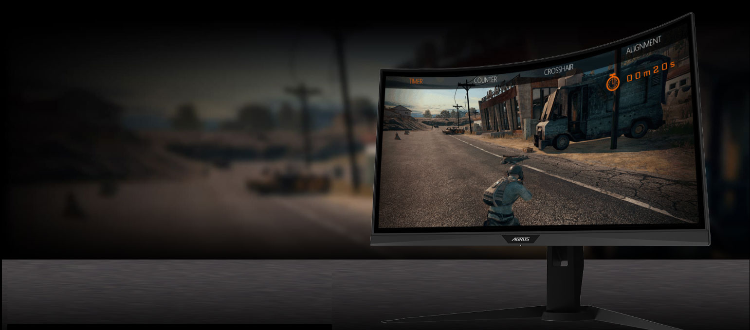 GIGABYTE AORUS CV27F 27 Monitor Angled to the left, showing the effect of gameassist in your game.