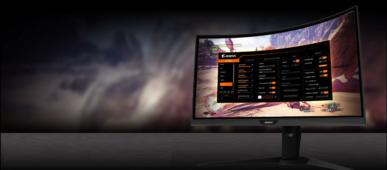 GIGABYTE AORUS CV27F 27 Monitor Angled to the left, showing the screenshot of osd sidekick
