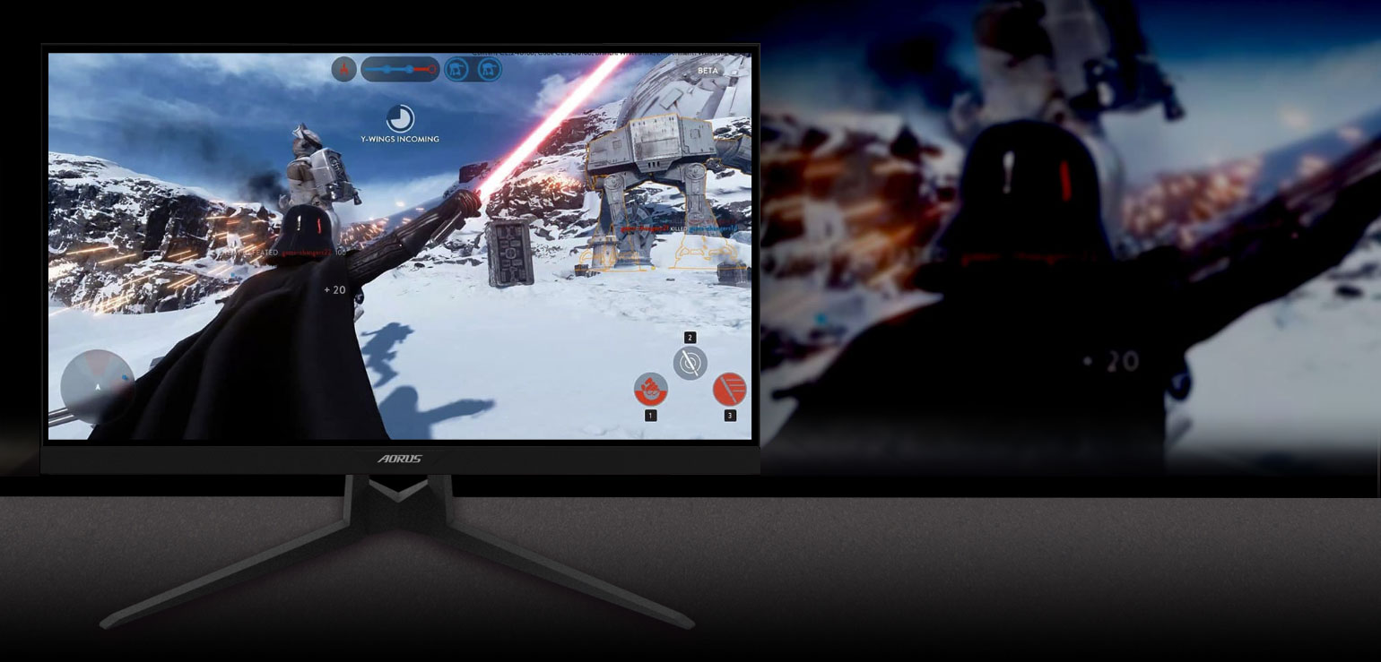 GIGABYTE AORUS FI27Q 27 Monitor Angled to the Right with an FPS Game Screenshot showing the effect of 10bits color IPS