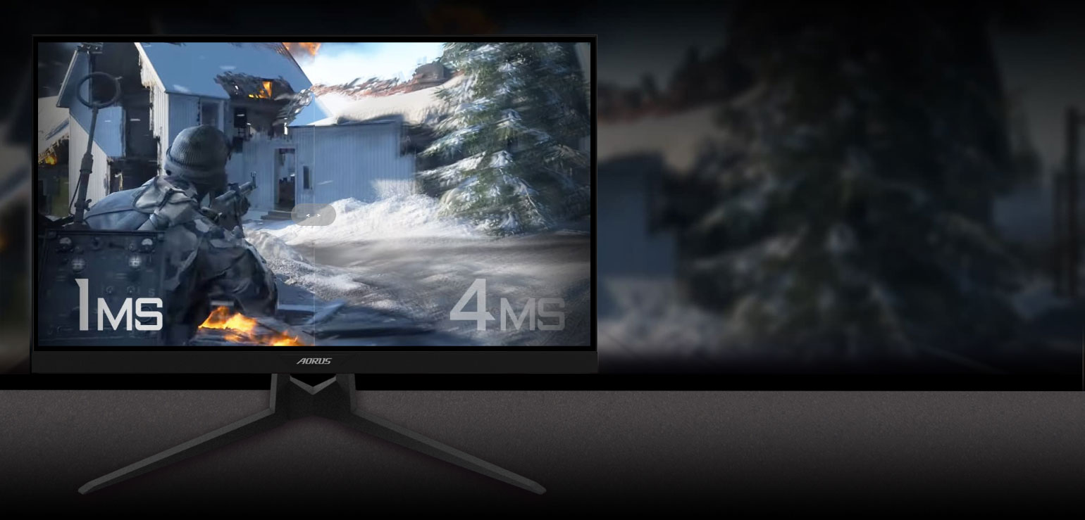 GIGABYTE AORUS FI27Q 27 Monitor Angled to the Right with an FPS Game Screenshot Split in Two, Showing the Difference Between a Crisp 1ms Response Time and a Blurred 4ms Response Time