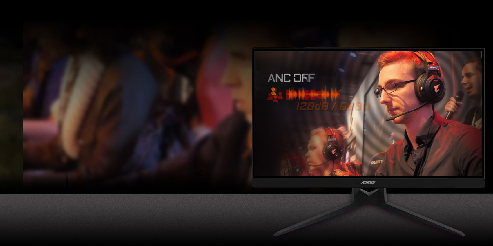 GIGABYTE AORUS FI27Q 27 Monitor Angled to the left, showing the effect of anc with a man is gaming