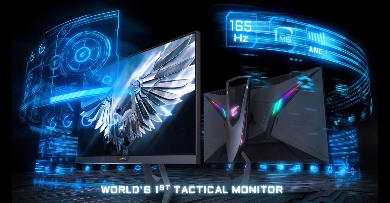 Two GIGABYTE AORUS FI27Q 27 Monitors, One Facing Away and the Other to the Right Next to a Graphical Overlay That Reads: 165Hz, 1ms, and ANC Audio. Below the Monitors Is Text That Reads: WORLD'S 1ST TACTICAL MONITOR