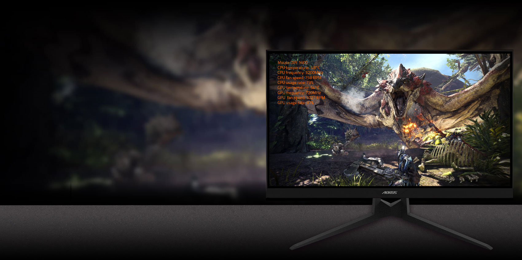 GIGABYTE AORUS FI27Q 27 Monitor Angled to the left, showing info won't be blocked by games with dashboard