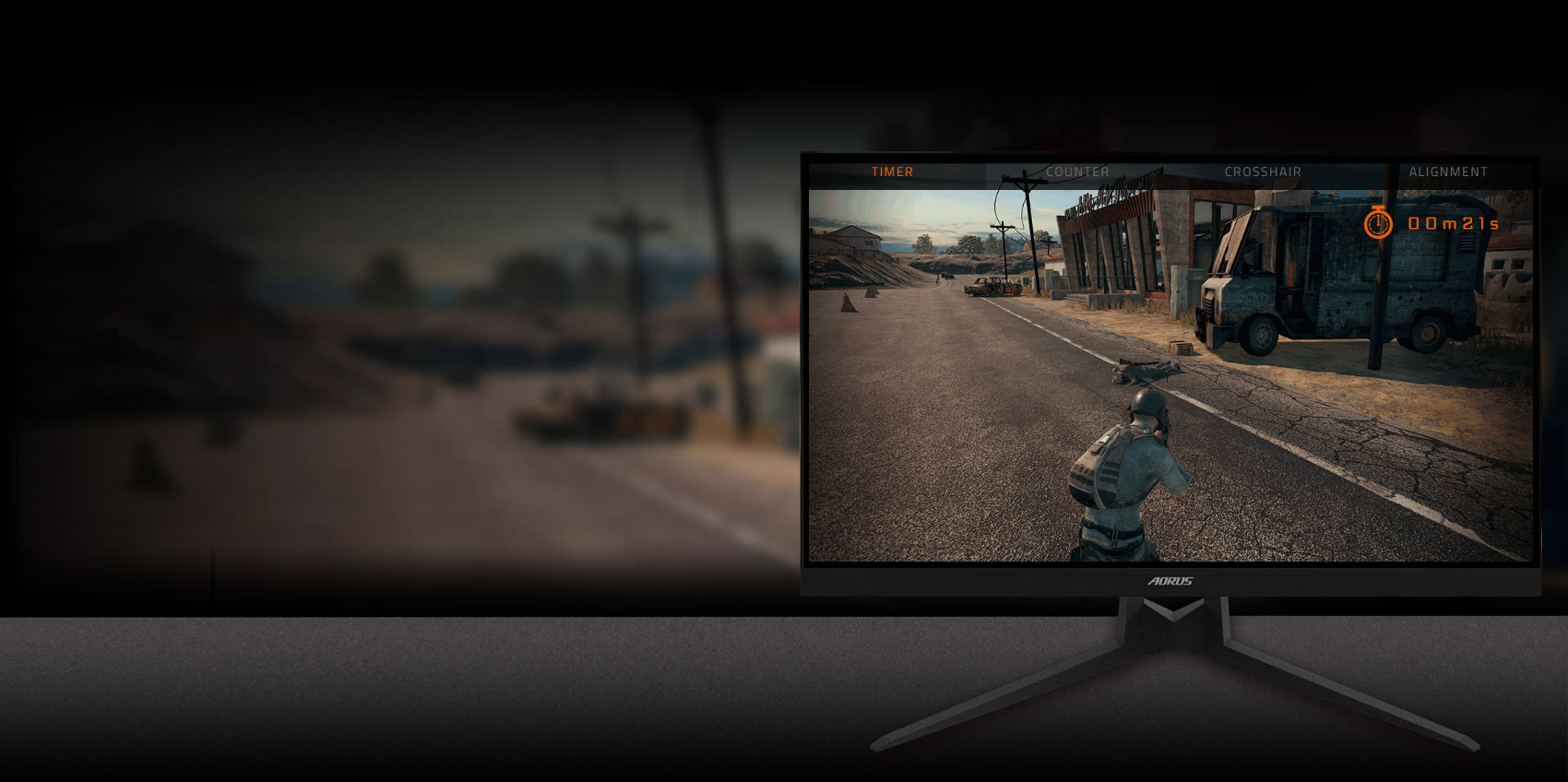 GIGABYTE AORUS FI27Q 27 Monitor Angled to the left, showing the effect of gameassist in your game.