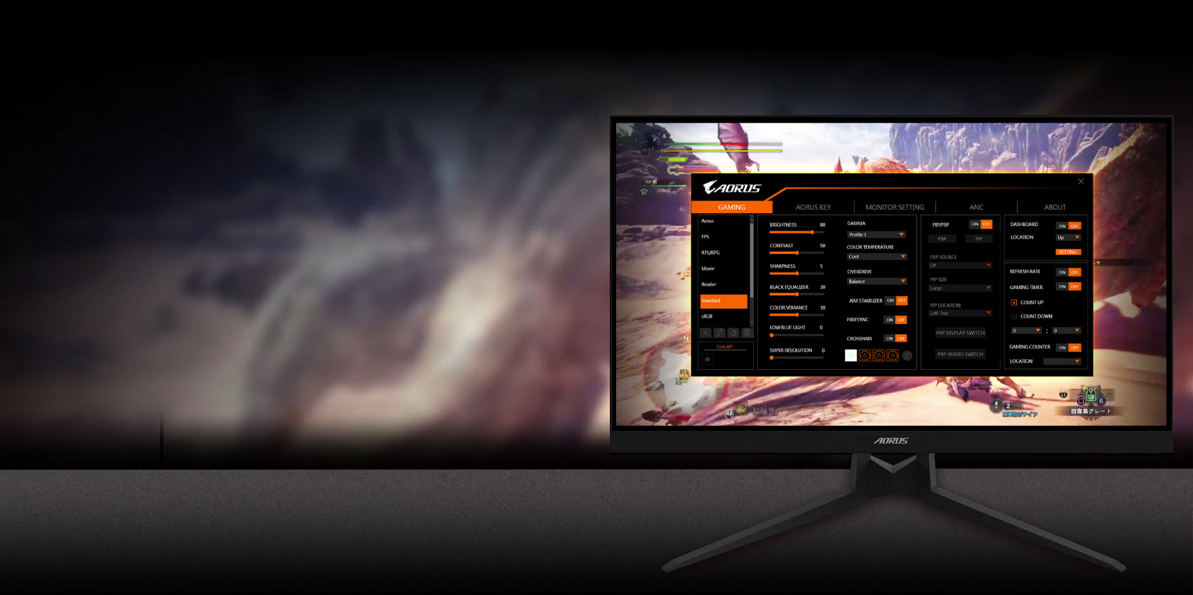 GIGABYTE AORUS FI27Q 27 Monitor Angled to the left, showing the screenshot of osd sidekick
