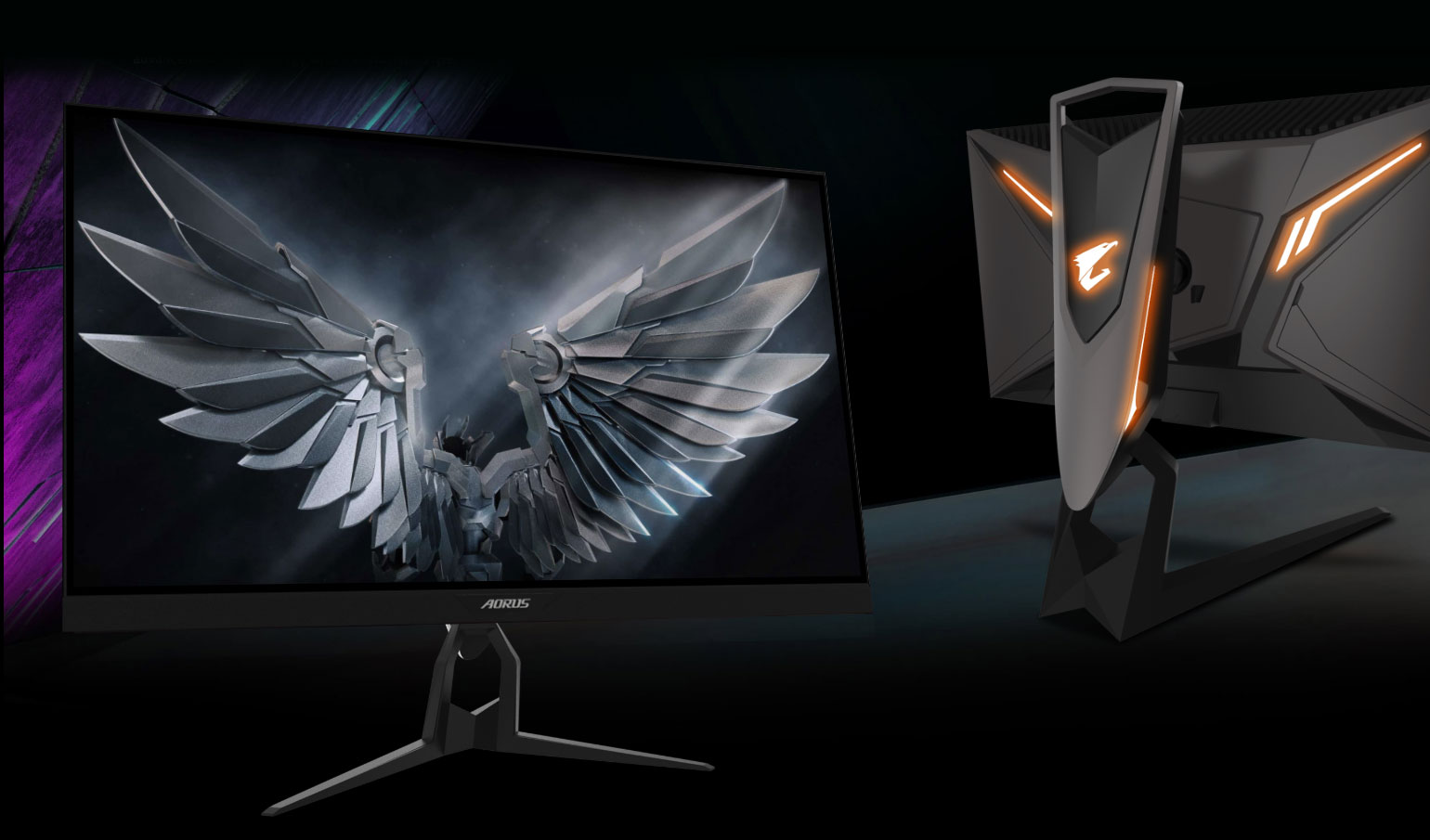 two monitors , one is facing front and the other is showing back of the GIGABYTE AORUS Monitor