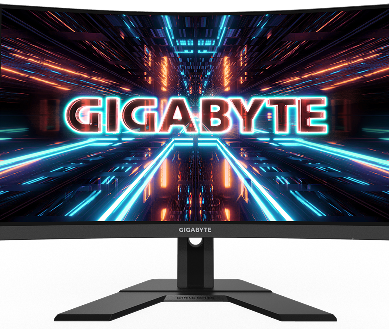 Hero Image: big Gigabyte logo on the center of gaming display.
