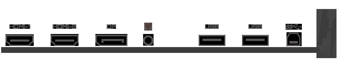 Detail ports: 2 HDMI, 1 DP, 3 USB