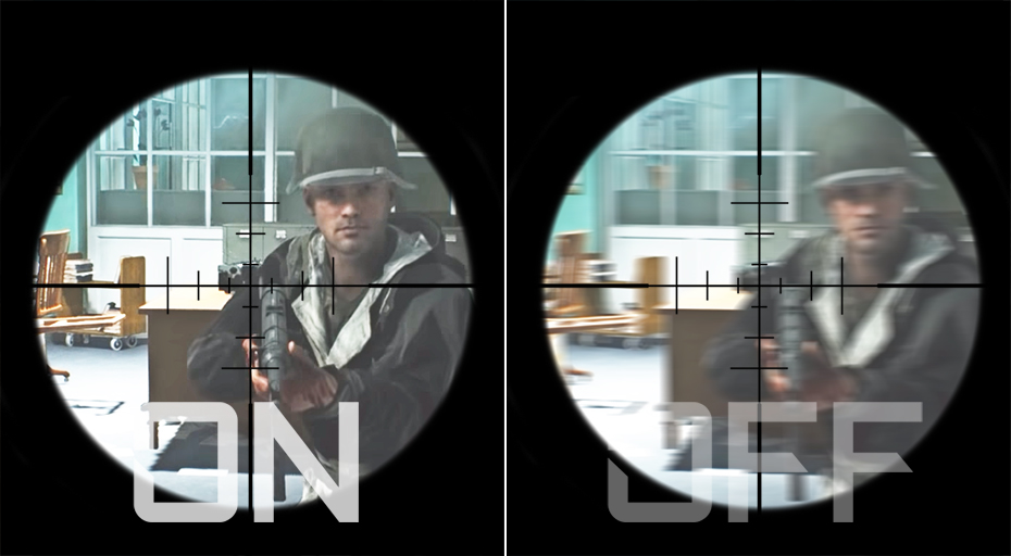 Difference between Aim Stabilizer on and off