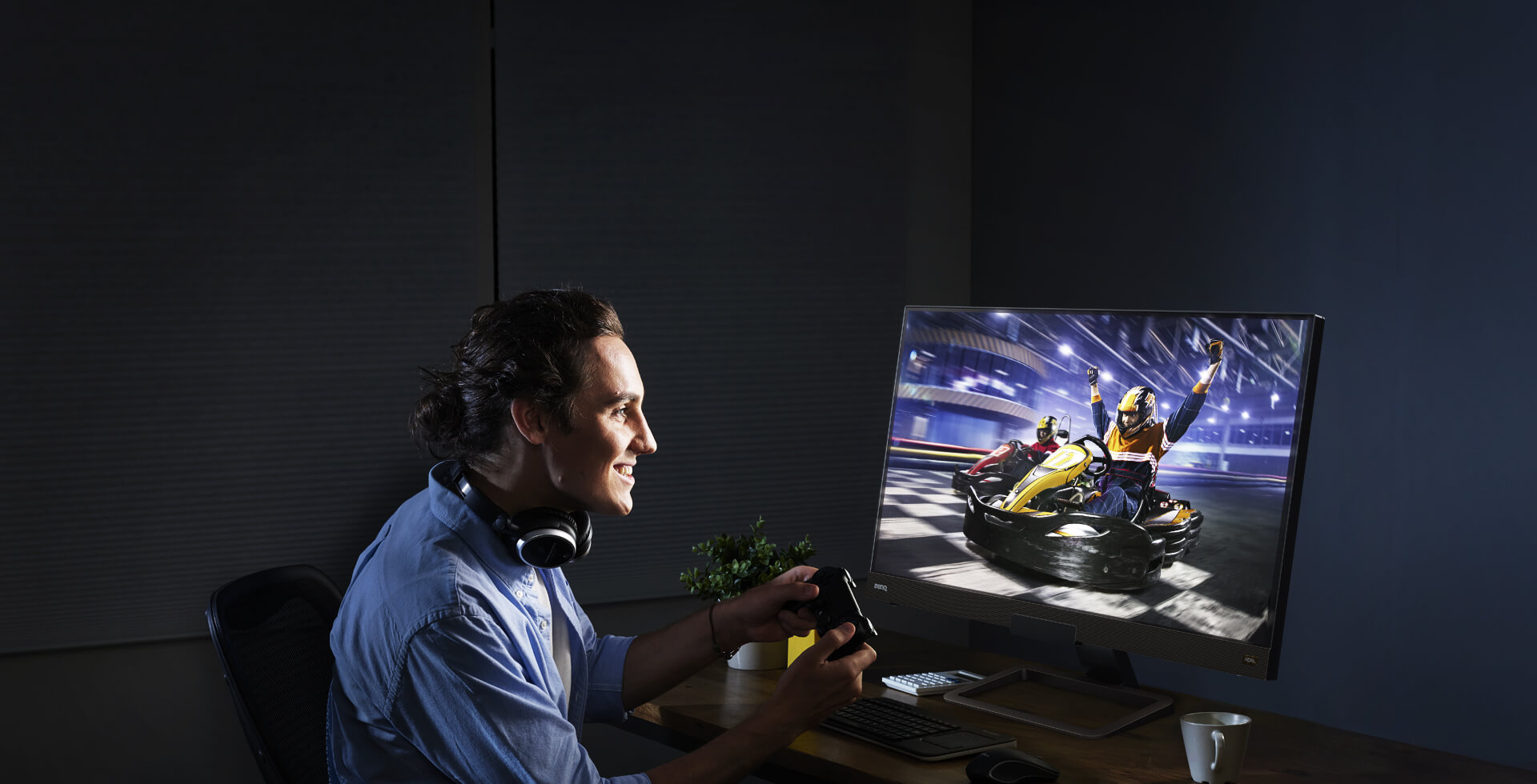 a man is playing a racing game